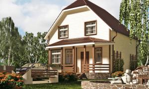 Двухэтажный каркасный дом-баня 6х8