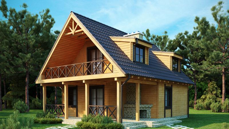 Двухэтажный каркасный дом с мансардой