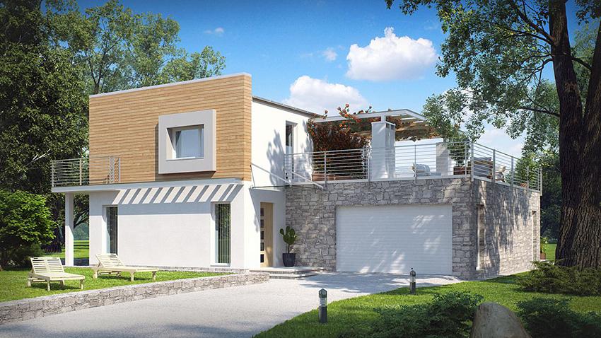 Современный каркасный дом с плоской крышей