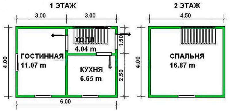 Двухэтажный каркасный дом 6х4