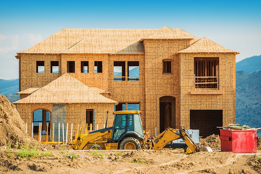 New House Building. House Construction. Real Estate Development. Home Wooden Structure.