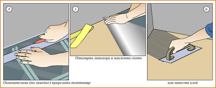 Выступившую мастику удалить сразу обычной губкой. Затем на склеенные края линолеума кладется груз и оставляется там до полного высыхания клеевого состава, указанного в инструкции по применению.