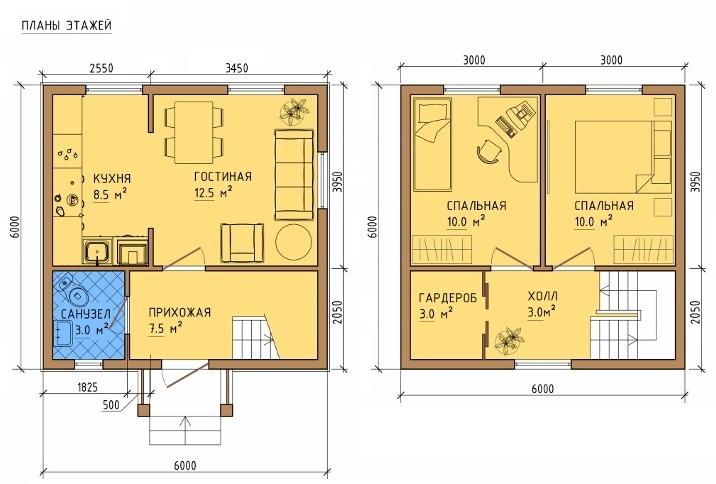 Двухэтажный каркасный дом 6х6