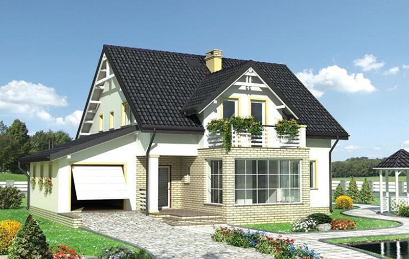 Каркасный дом с мансардой и верандой