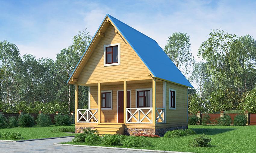 Каркасный дом с баней 6Х6