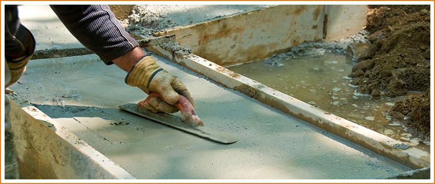 Заливка бетонным раствором