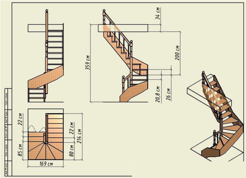чертежи лестниц из дерева фото пользу кухни сиреневых