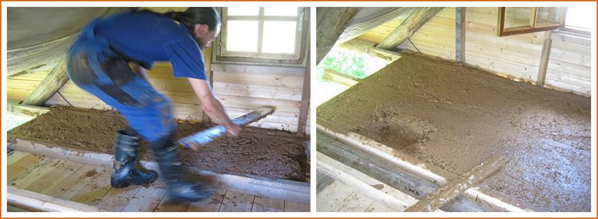 Утепление потолка бани глиной с опилками или соломой
